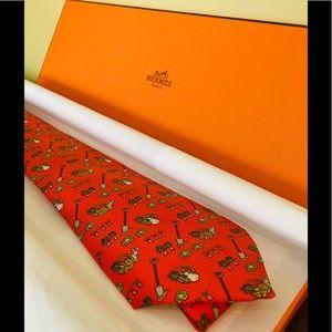Authentic Hermes silk tie: Rabbit with Vegetables